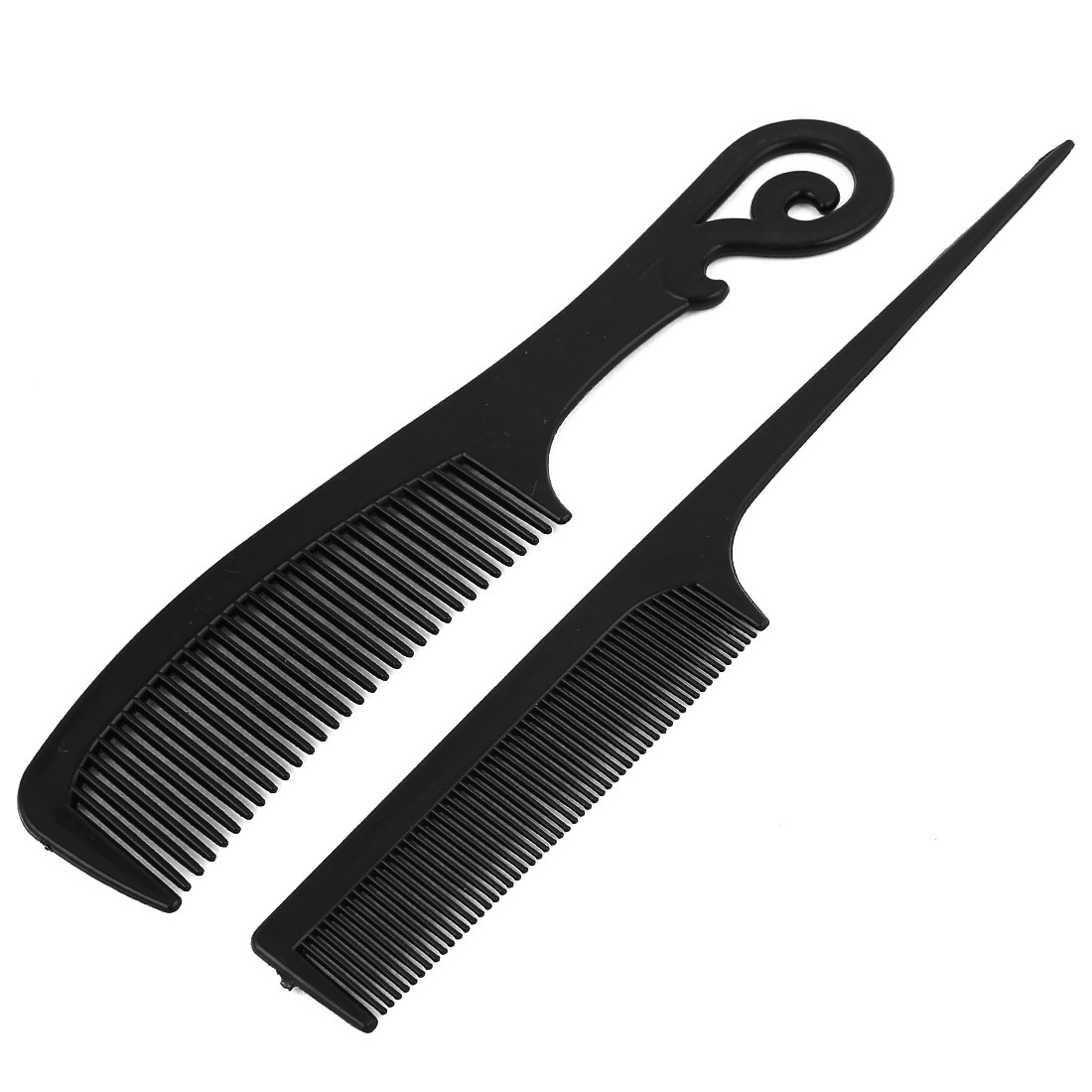2 in 1 Portable Black Plastic Anti-Static Heat Resistant Straight Handgrip Hair Comb