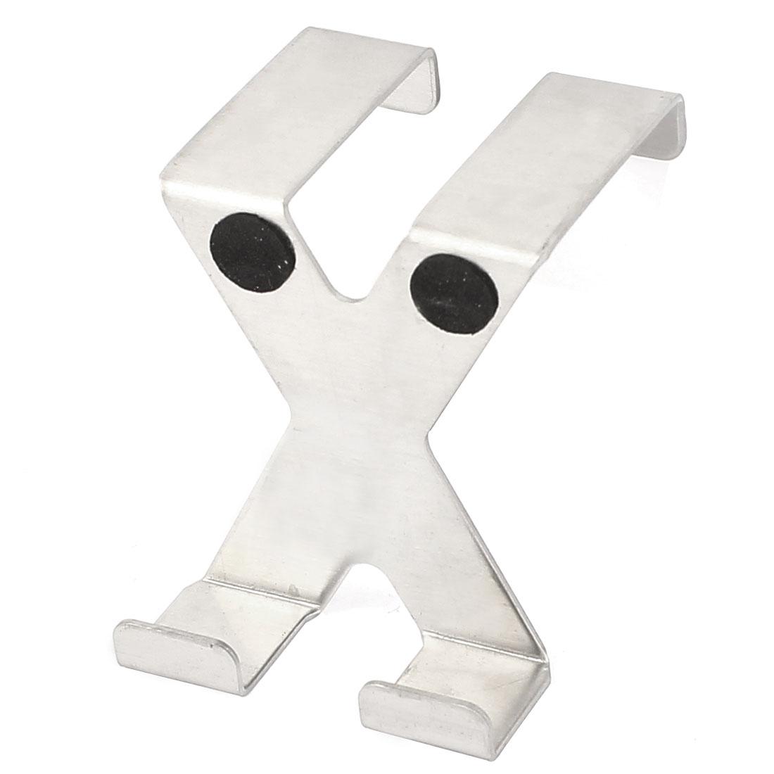 Household Bathroom Stainless Steel X Shaped Two Hangers Drawer Door Hook Silver Tone