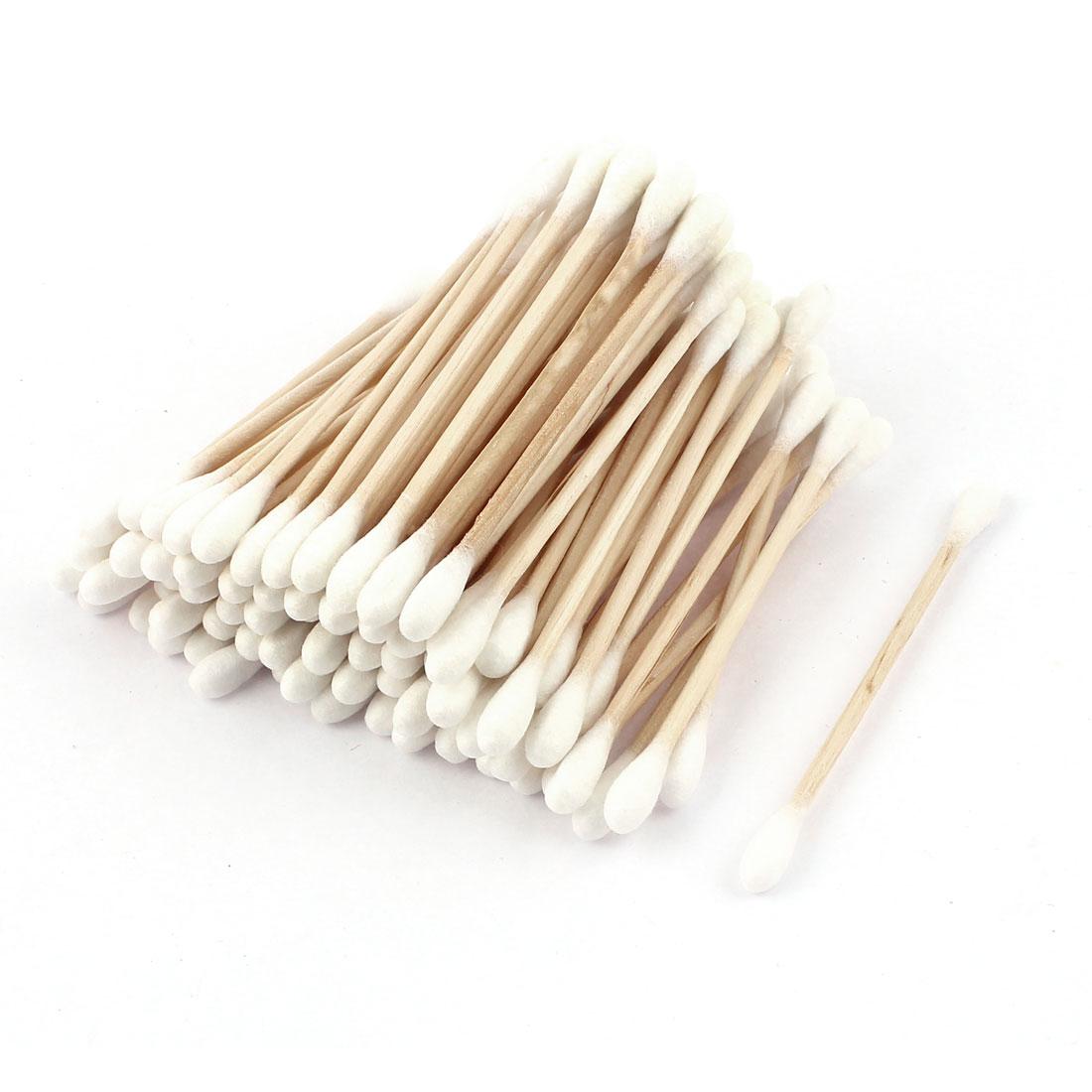 100pcs Wood Rod Double Ended Cotton Swab Bud Ear Picks Applicators Cosmetics Makeup Tool