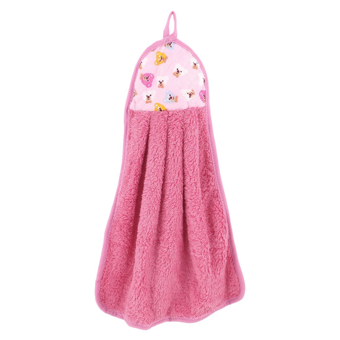 Bathroom Kitchen Pink Animal Pattern Wall Hanging Washing Hand Drying Towel Washcloth