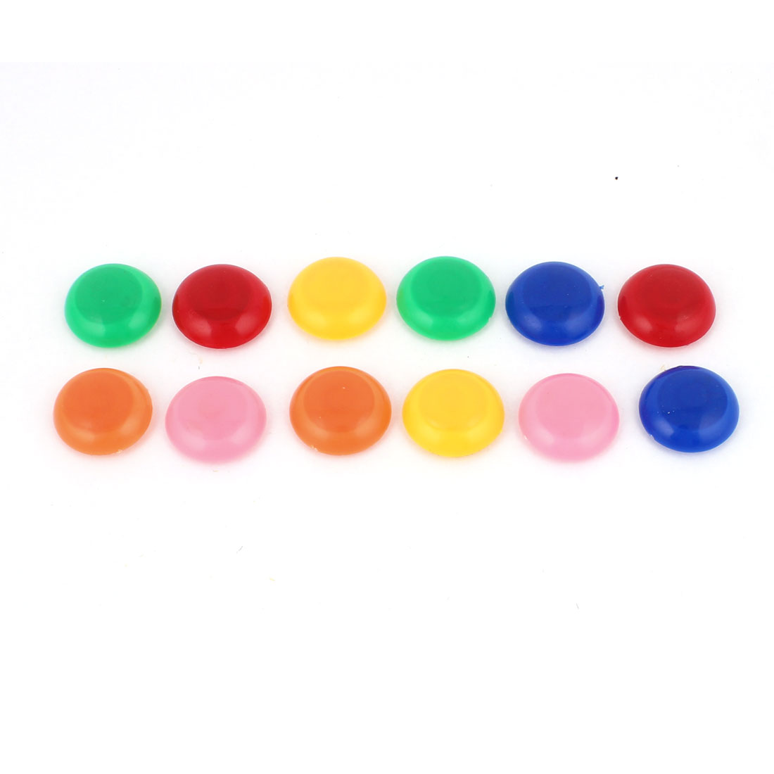 12 Pcs 30mm Dia Assorted Color Plastic Round Cover Blackboard Whiteboard Fridge Magnetic Sticker