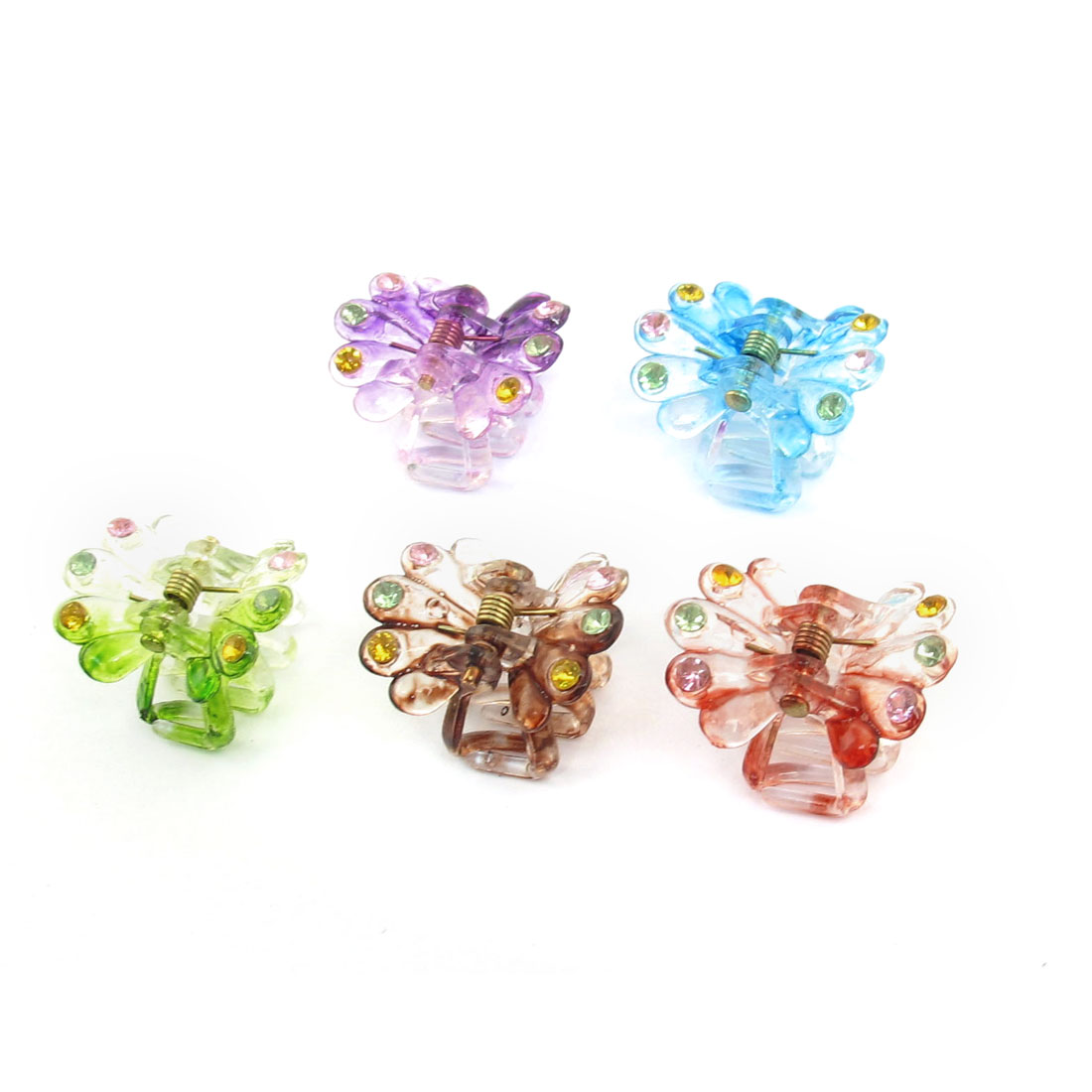 Lady Hairstyle Plastic Spring Loaded Hair Snap Claw Clip Clamp Hairclip 5pcs Assorted Color