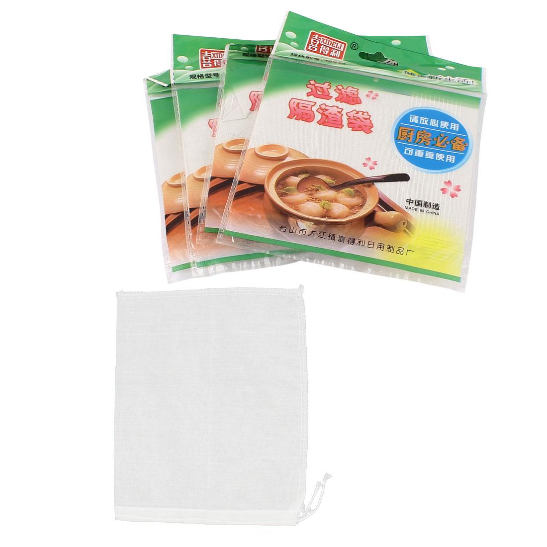 5 Pcs Drawstring Seal Soup Food Strainer Filter Mesh Bag 27cm x 24cm White