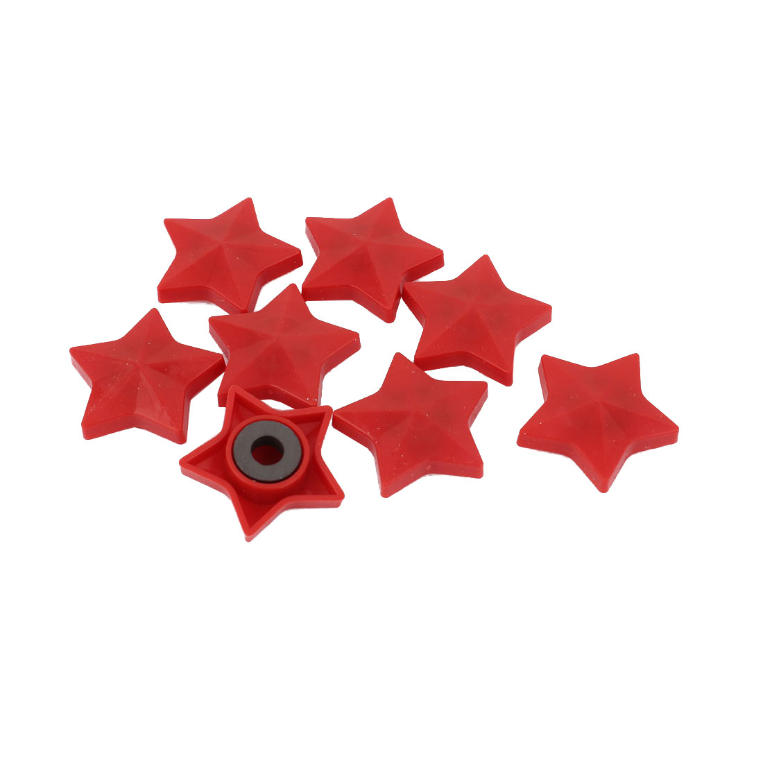 8 Pcs Red Plastic Shell Pentacle Shape Whiteboard Fridge Magnetic Sticker