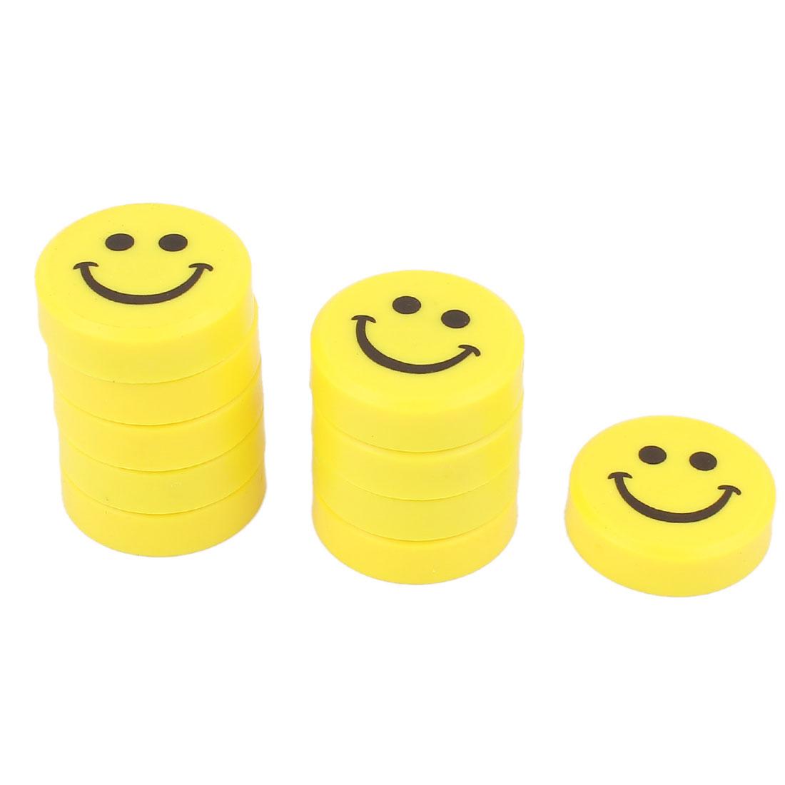 10 Pcs Yellow Plastic Shell Smiling Face Design Whiteboard Fridge Magnetic Sticker