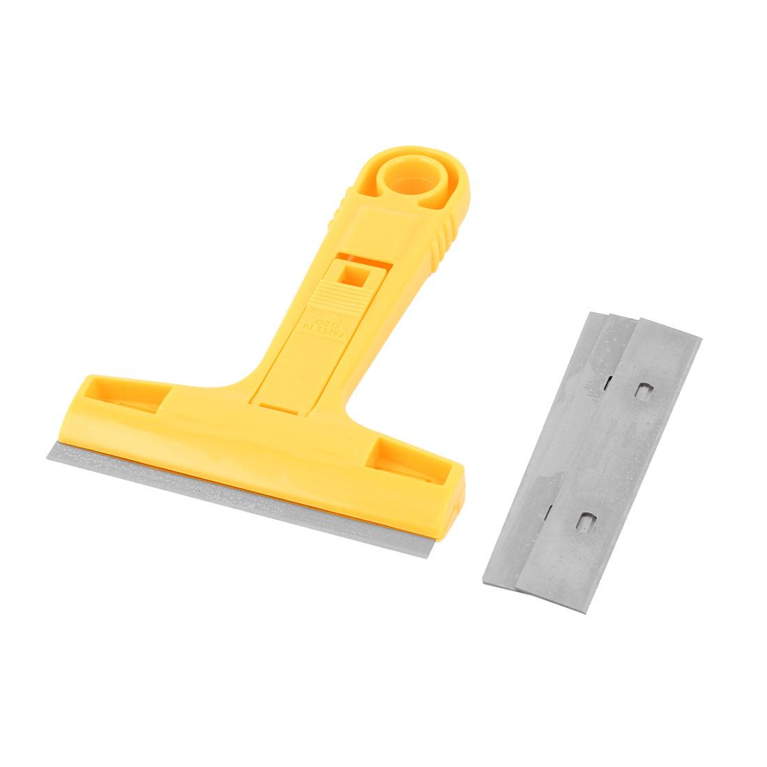 Household Yellow Plastic Nonslip Handle Wall Floor Window Glass Cleaner Scraper