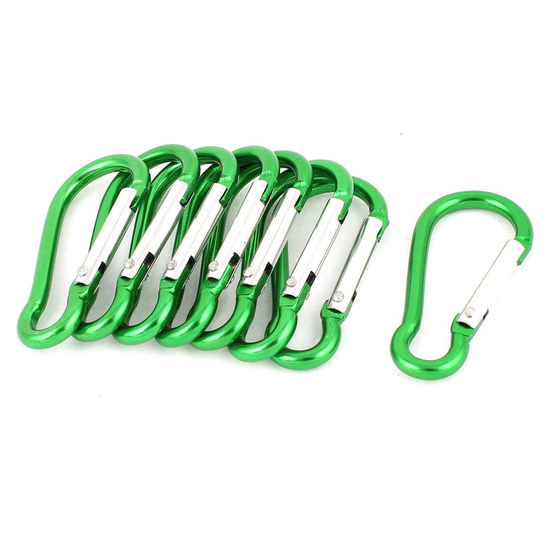 Hiking Calabash Design Spring Loaded Clip Snap Carabiner Hook Keychain Karabiner Bag Holder 8pcs Green