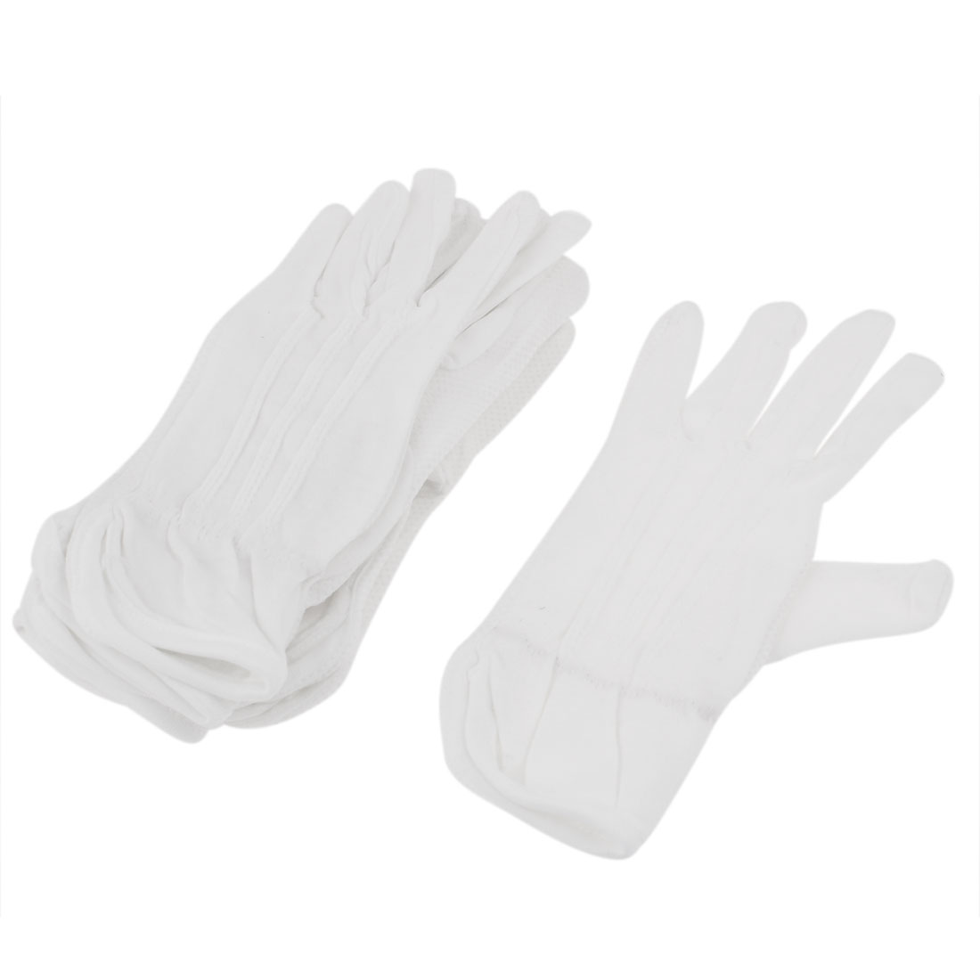 5 Pairs White Rubber Dots Pattern Protective Antiskid Anti-Slip Working Driving Gloves