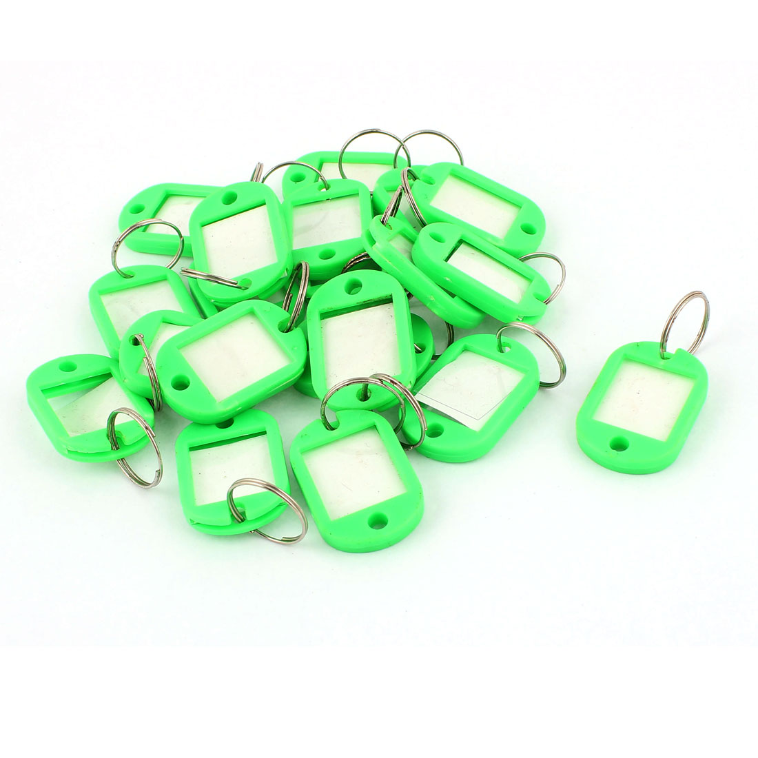 20pcs Green Plastic Key Fobs ID Label Luggage Tags Name Card w Keyring Split Ring