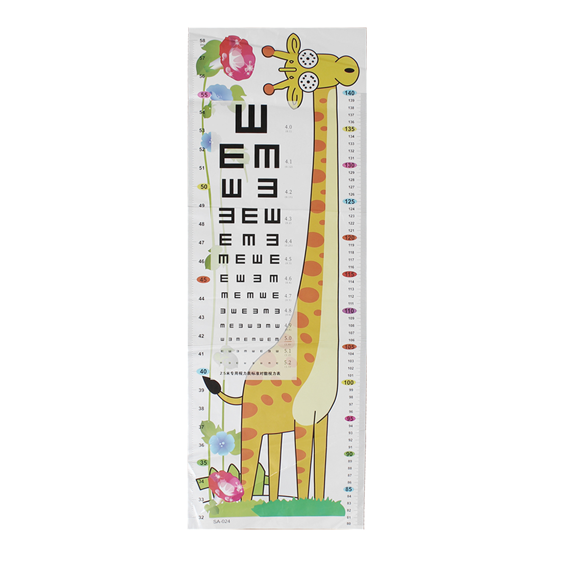 Giraffe Flower Pattern Kids Growth Record Height Measure Chart Wall Sticker Decal Post Room Decoration