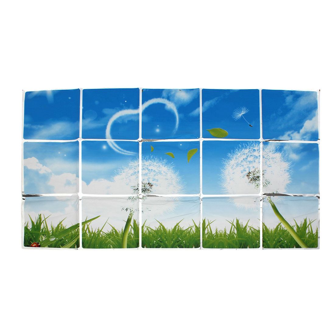 White Green Plastic Grass Pattern Kitchen Sheet Dining Hall Wall Sticker Decal Ornamnet