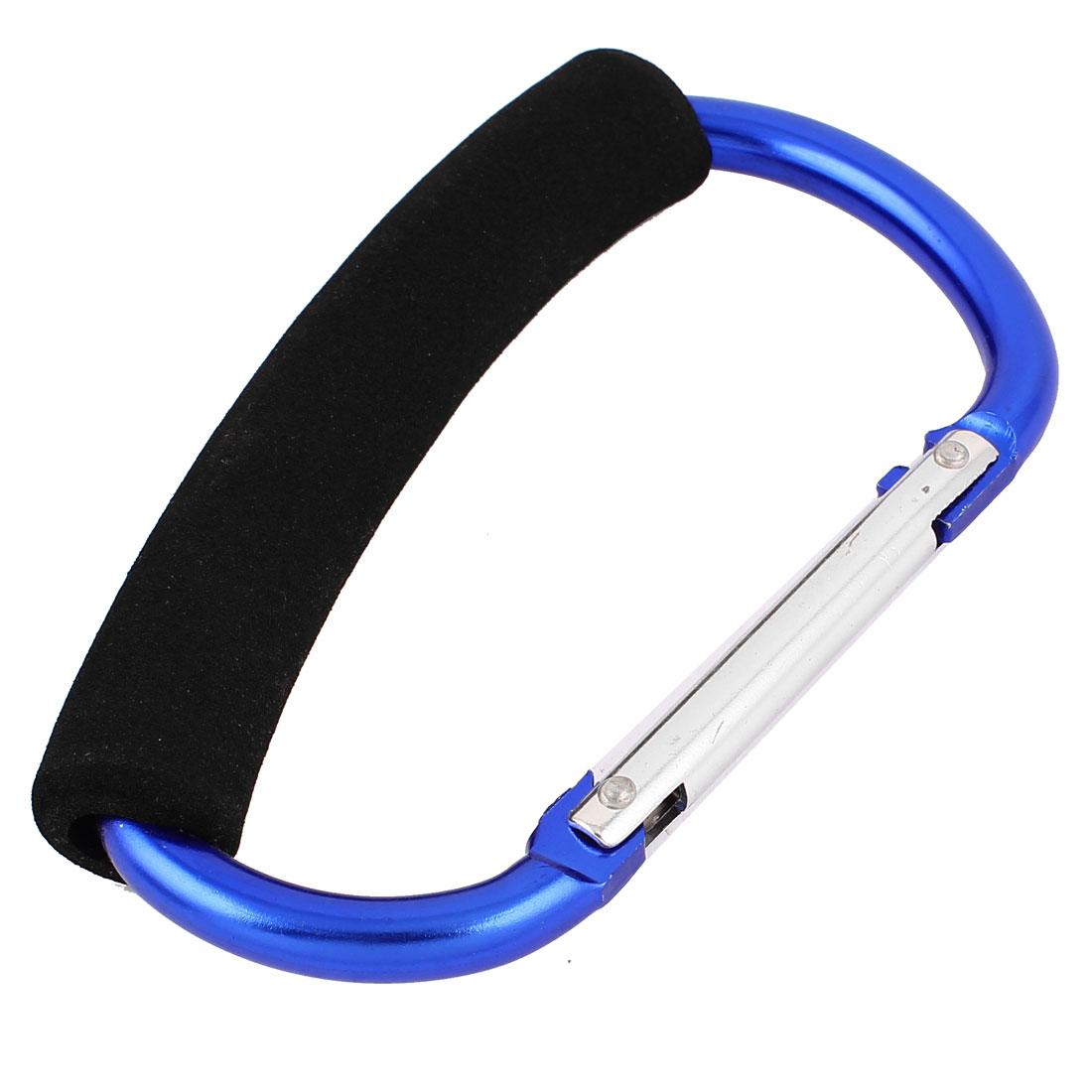 13cm Blue Metal Spring Loaded Snap Shopping Bag Hook Organizing Clip Carabiner Cords Holder w Handle Grip