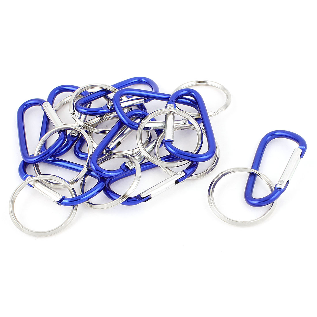 Camping Cycling Metal D Shape Clip Carabiner Hook Key Chain Keyring Keychain Bottle Holder 10pcs Blue