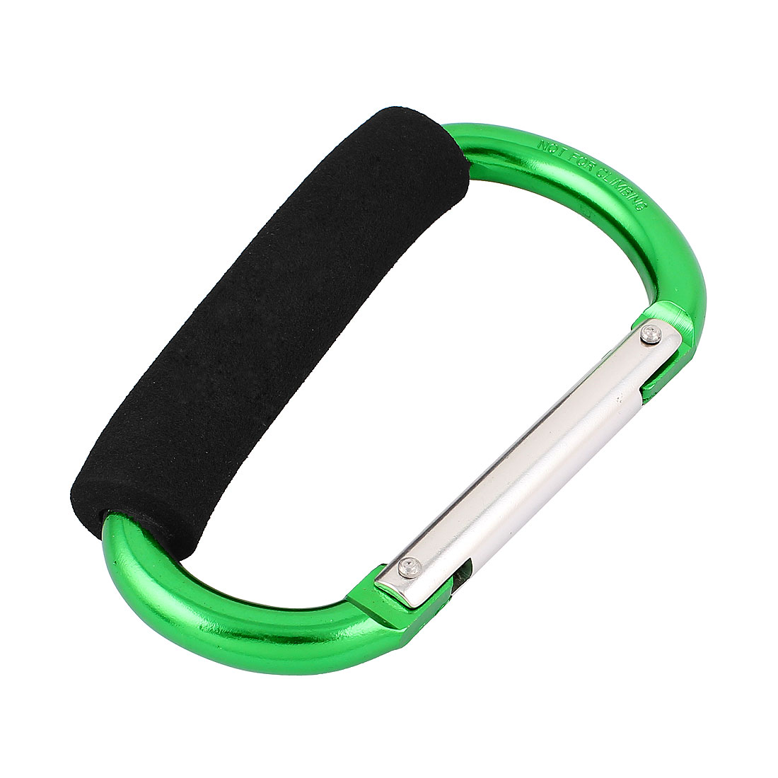 Cycling D Shape Snap Shopping Bag Hook Organizing Clip Carabiner Cords Carrier w Handle Grip 14cm Green