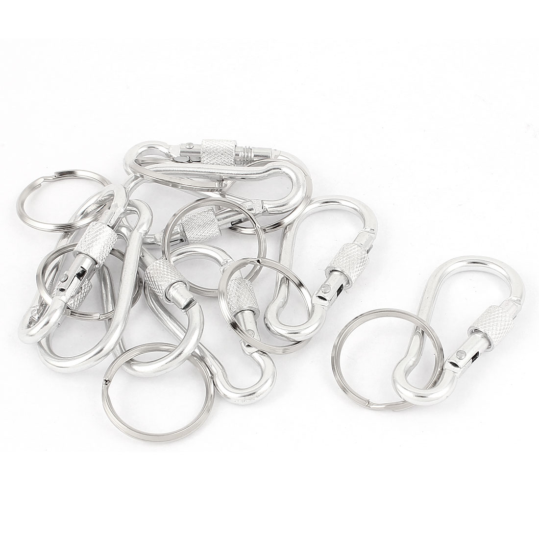 8pcs Silver Tone Metal Calabash Shape Screw Locking Carabiner Clip Spring Snap Hook Key Ring Chain