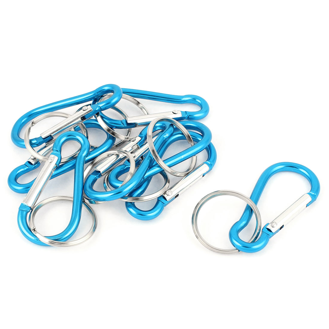 Camping Cycling Metal Calabash Shaped Spring Loaded Gate Clip Carabiner Hook Key Chain Ring 8pcs Sky Blue