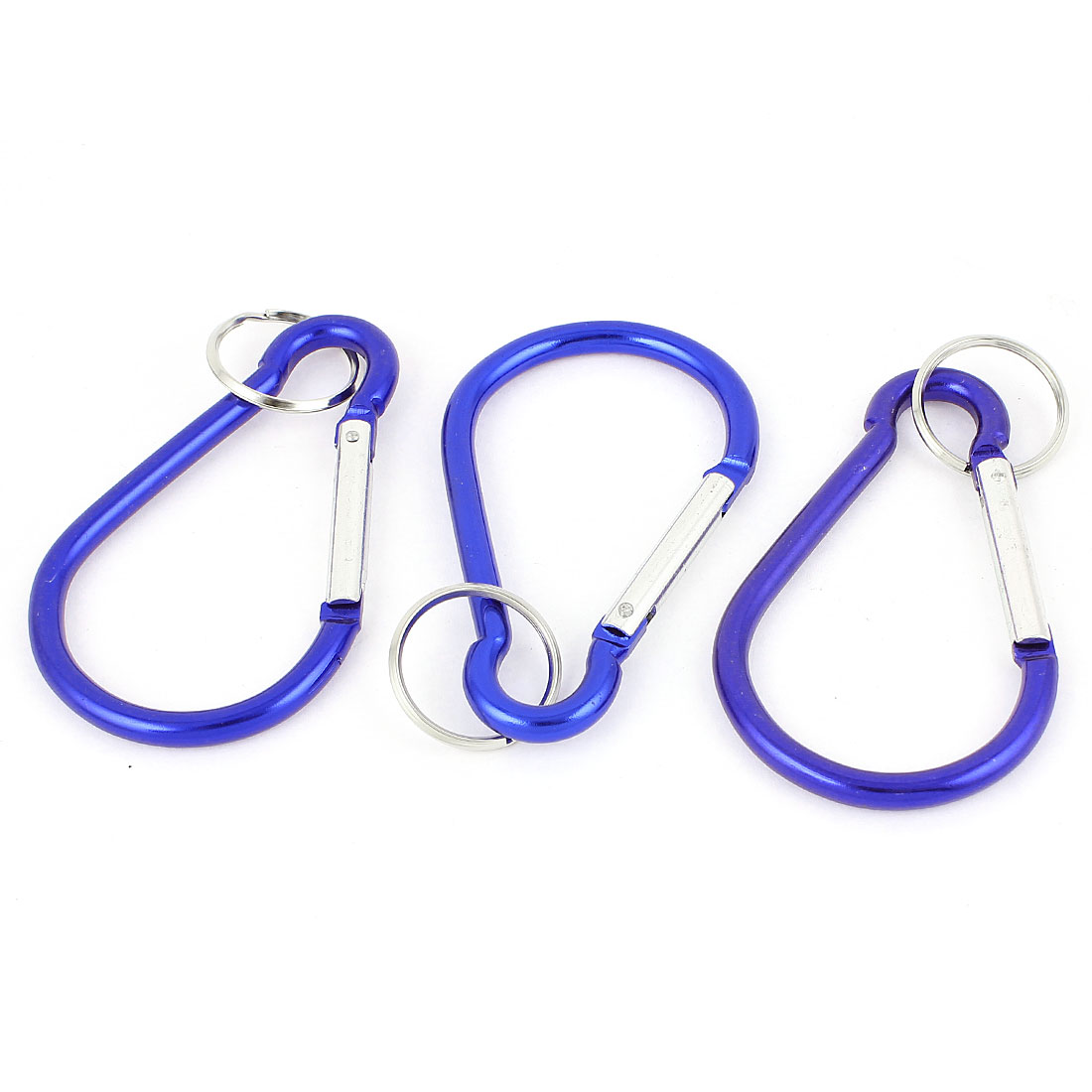 Outdoor Camping Metal Carabiner Spring Loaded Belt Clips Hook w Key Chain 3pcs Blue