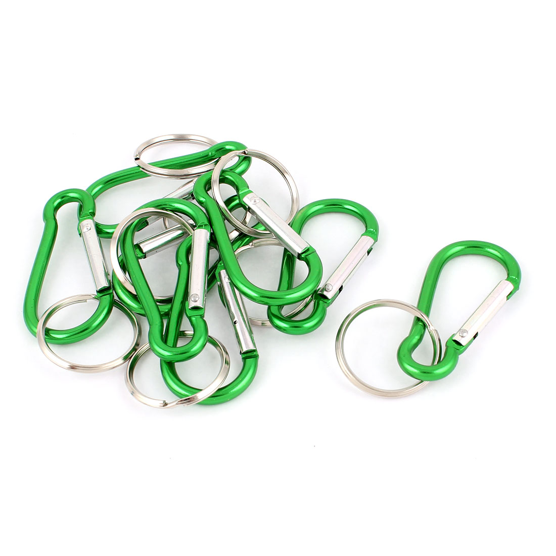 Cycling Metal Calabash Shaped Spring Loaded Gate Clip Carabiner Hook Key Chain Split Ring 8pcs Green