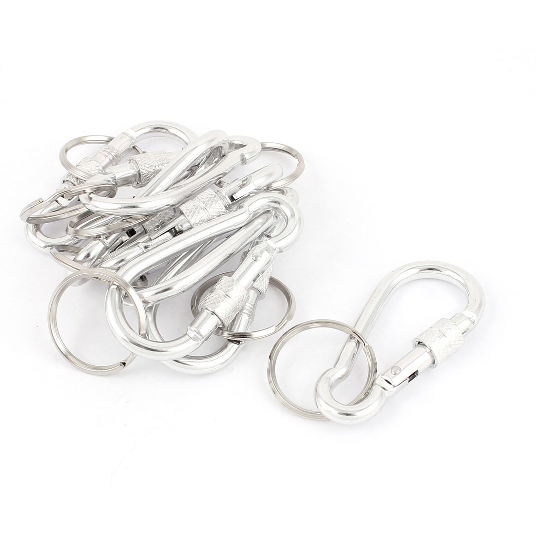 Camping Metal Bottle Gourd Shaped Screw Locking Carabiner Clip Snap Hook Split Ring Key Chain 8pcs Silver Tone