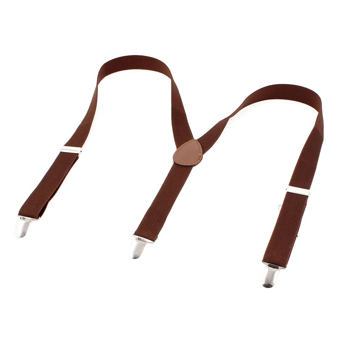 Adult Unisex Adjustable Metal Clamp Clip-on Elastic Y Shape Suspenders Braces Coffee Color