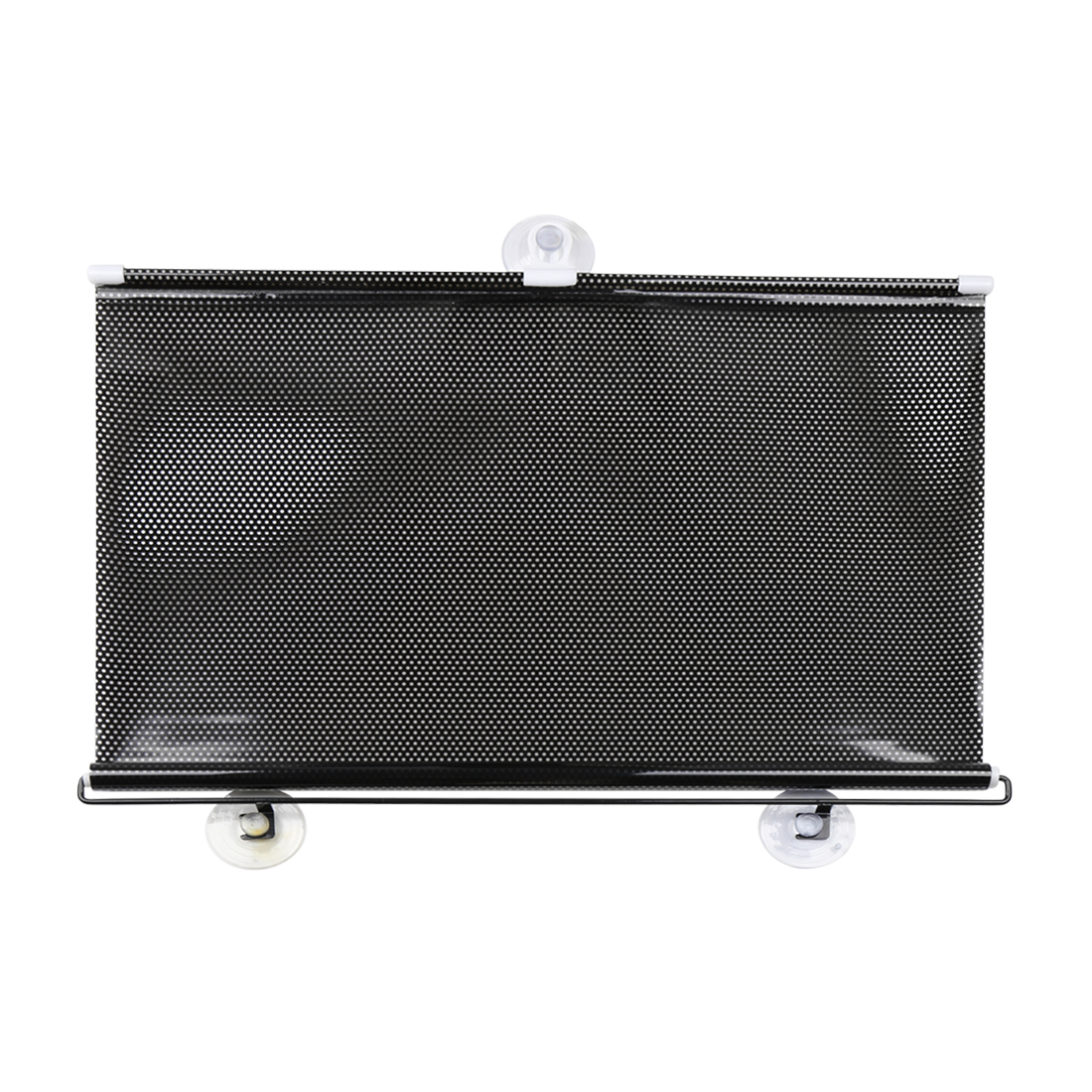 Car Front Side Window Retractable Roll Up Black Clear Dotted Vinyl Sunshade 125cm x 50cm w Suction Cups