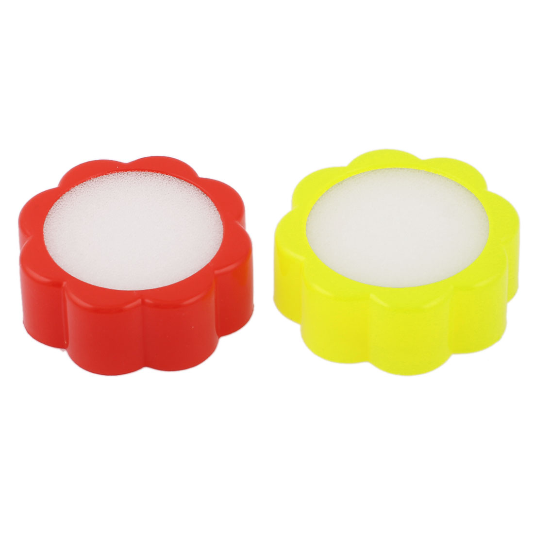 2pcs Flower Shaped Red Yellow Plastic Case White Finger Wet Sponge for Money Casher