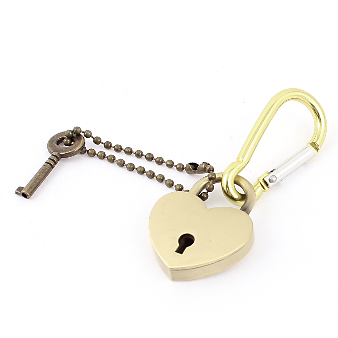 Gold Tone Metal Heart Lock Pendant Carabiner Clip Clamp Buckle Keyring Key Holder