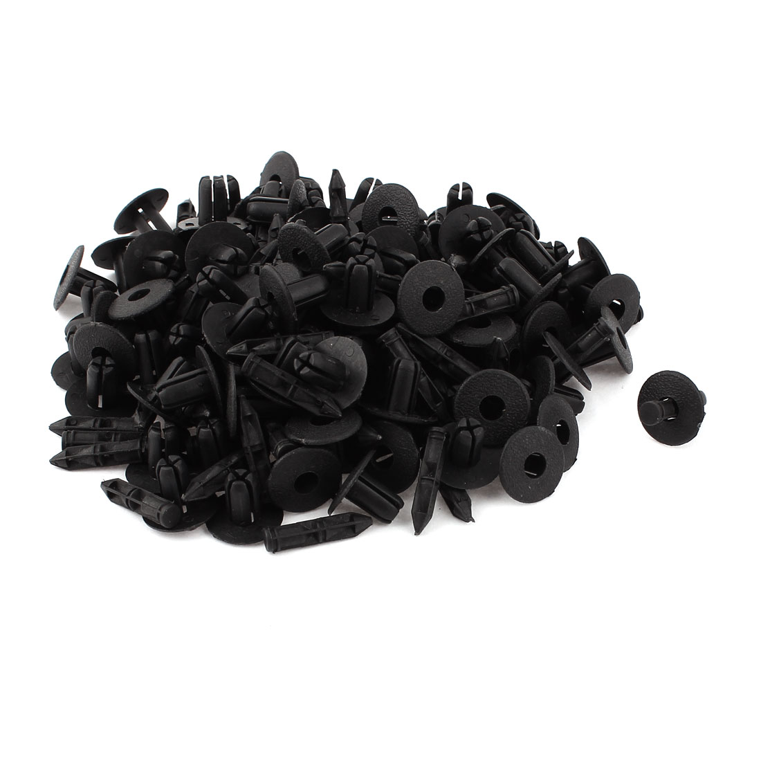 100pcs Universal Black Plastic Push Type Fastener Rivets Car Door Clips for 7mm Dia Hole