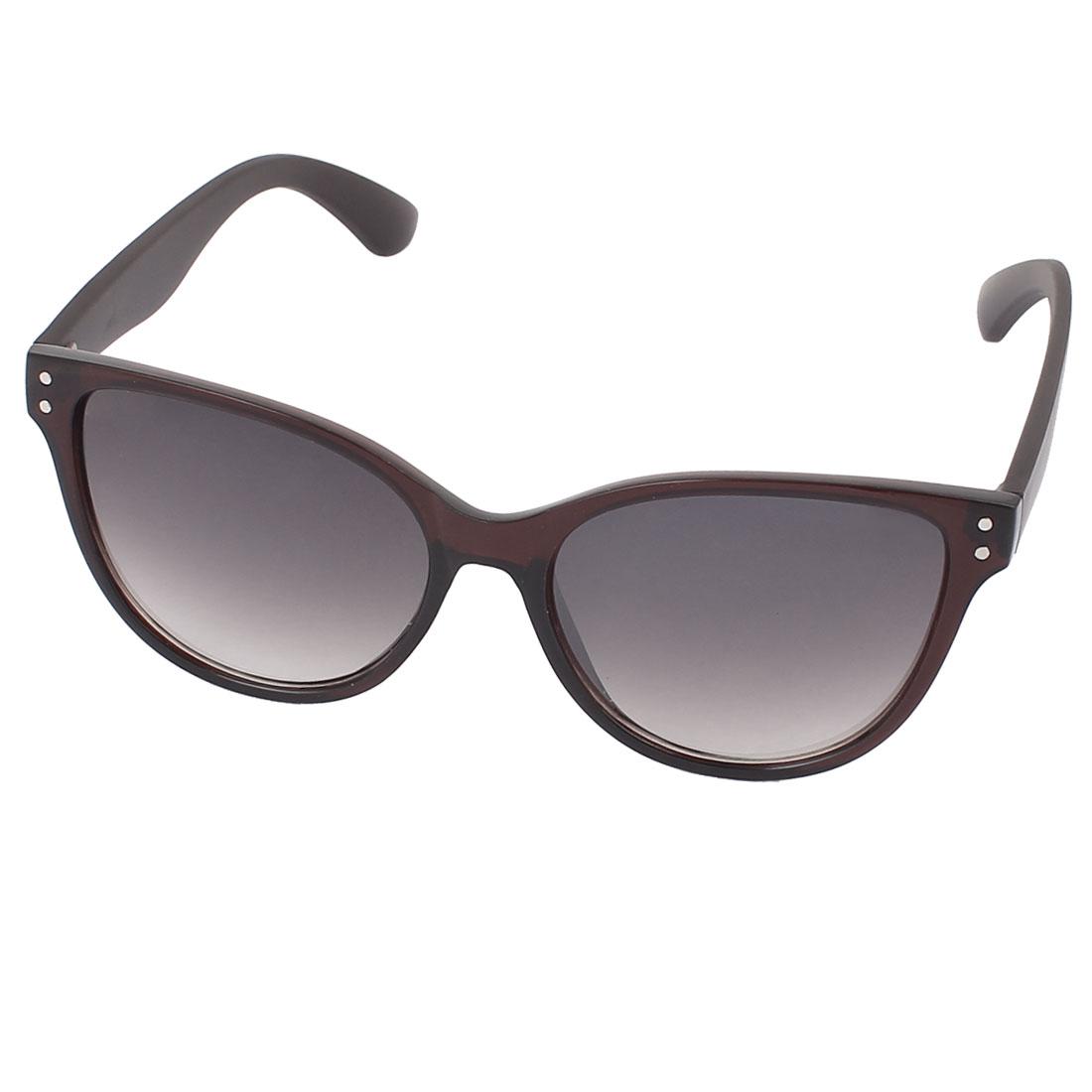 Unisex Coffee Color Plastic Full Rim Gradient Lens Single Bridge Sunglasses Eyeswear Glasses Eyes Protector