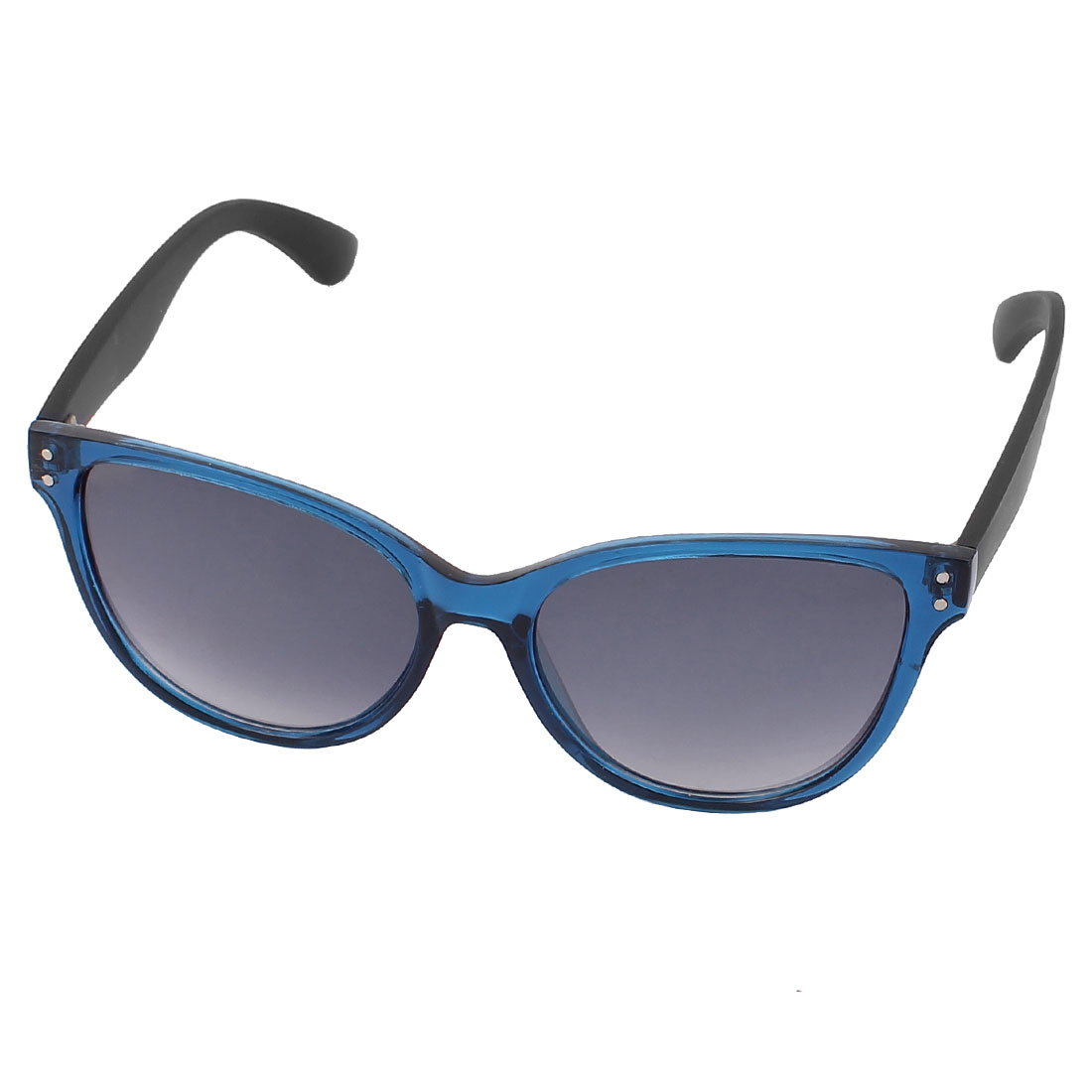 Unisex Clear Blue Plastic Full Frame Gradient Blue Lens Single Bridge Sunglasses Eyeswear Glasses Eyes Protector
