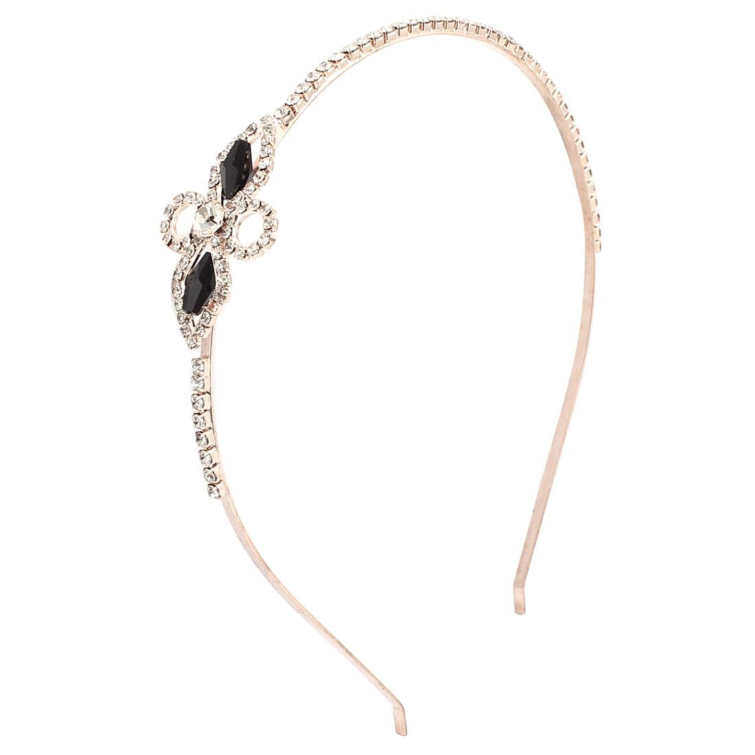 Woman Hairstyle Bowknot Detail Rhinestones Inlaid Metal Hair Hoop Headband Hairband Headdressing
