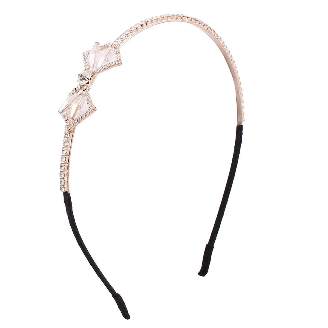 Lady Hairstyle Bowknot Decor Rhinestones Inlaid Metal Hair Hoop Headband Hairband Headdressing