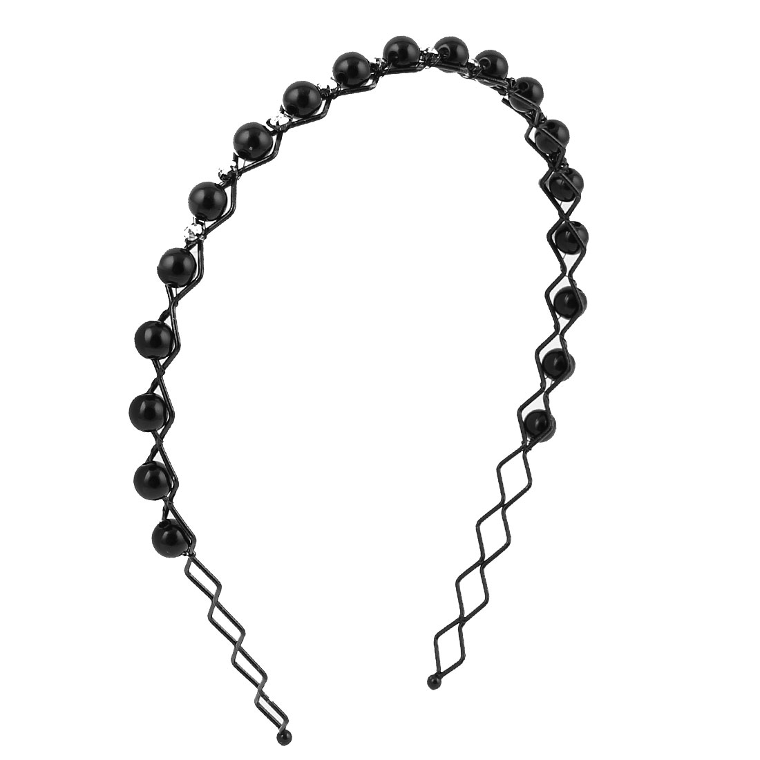 Lady Black Faux Beads Decor Wave Style Hair Hoop Hairband Headband Barrette Hairpin Headdressing