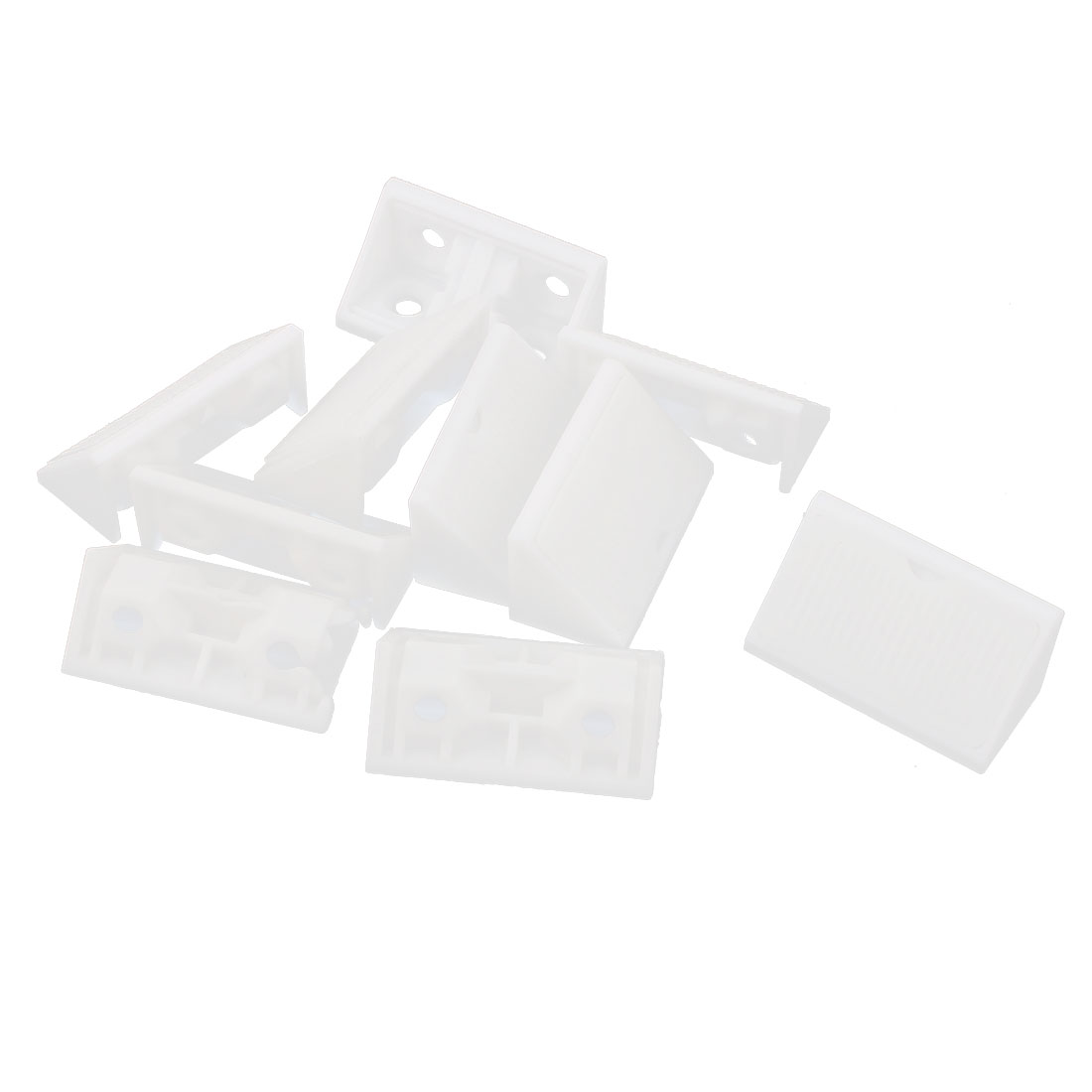 Furniture Cabinet Assembly 4mm Mounting Hole White Plastic Cranked Gusset Corner Shelf Brace Angle Brackets 10pcs