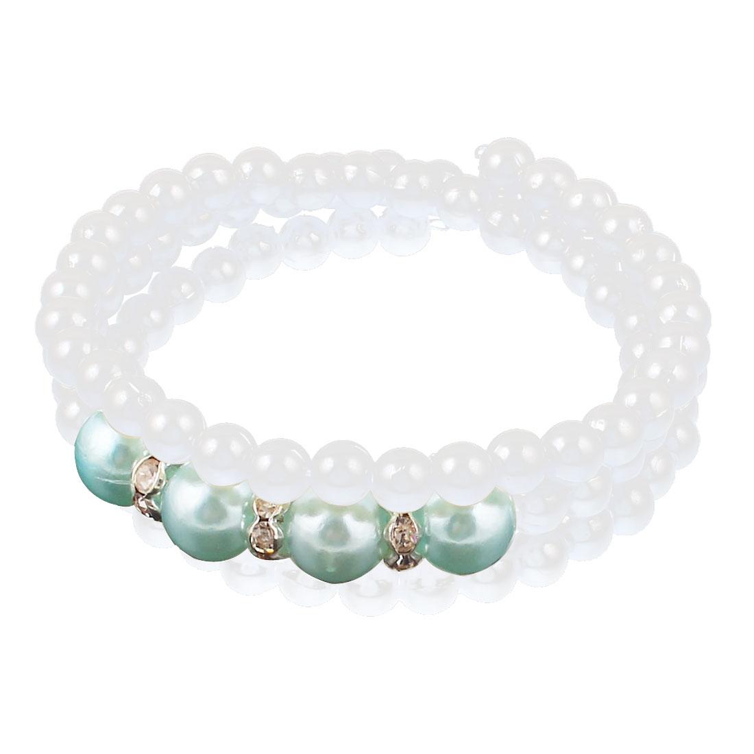 Woman White Blue Imitation Pearls Rhinestones Decor 3 Layer Spiral Elastic Wrist Chain Bracelet Bangle