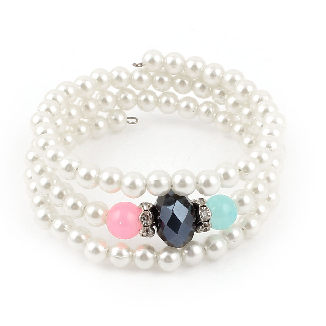 Lady Blue Multifacet Beads White Imitation Pearls 3 Layer Spiral Elastic Wrist Chain Bracelet Bangle