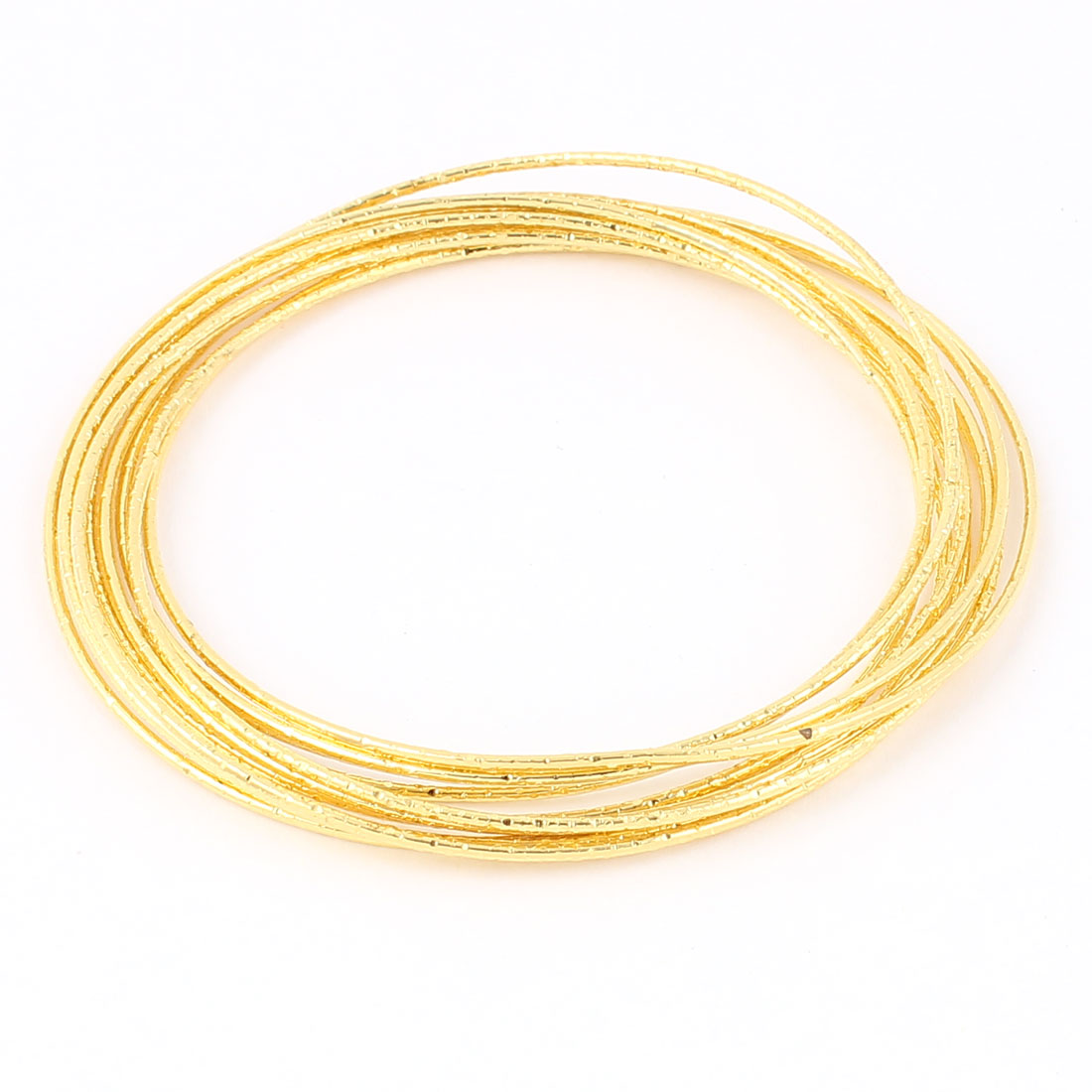 Woman Gold Tone Metal Interlock Loop Wrist Ornament Jewelry Bracelet Wristlet Bangle 9 in 1