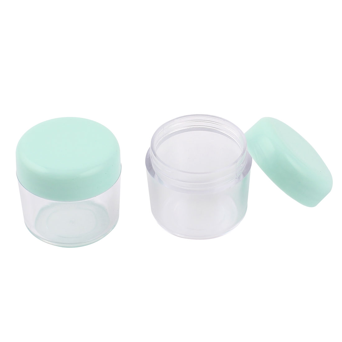 2Pcs Green Cover Clear Plastic Round Empty Lotion Liquid Cream Holder Cosmetic Jar w Spoon
