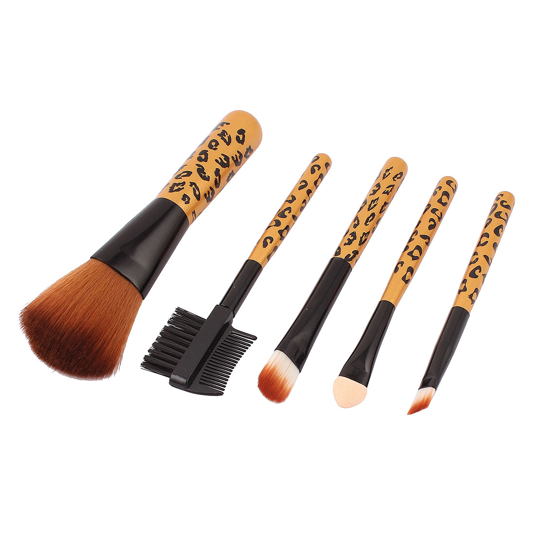 5 in 1 Gold Tone Black Makeup Cosmetic Blush Brush Eyeshadow Applicator Lip Eyebrow Comb Foundation Powder Brushes Set for Woman