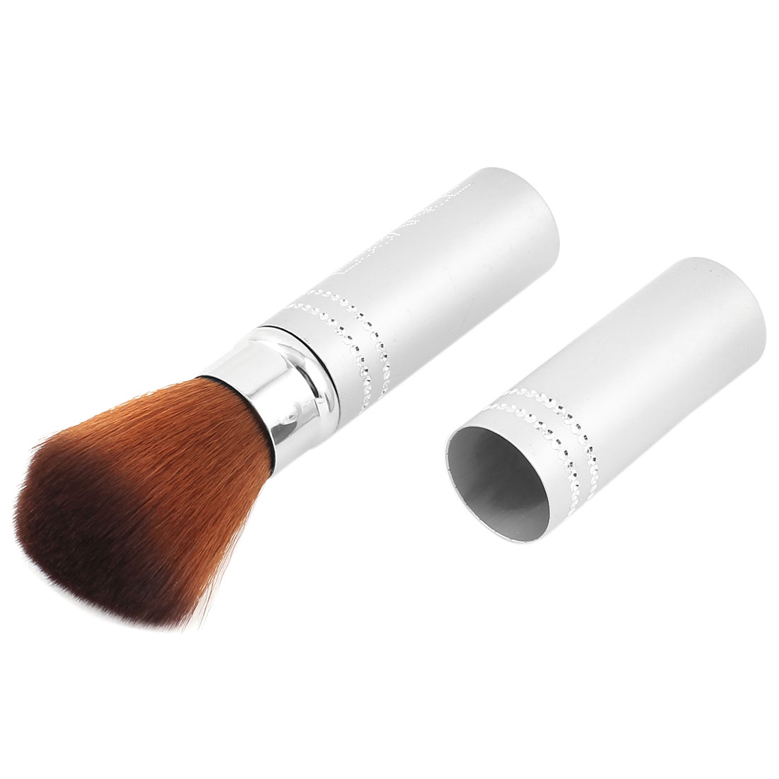 Lady Retractable Face Powder Foundation Cosmetic Tool Makeup Blush Brush Silver Tone 12cm