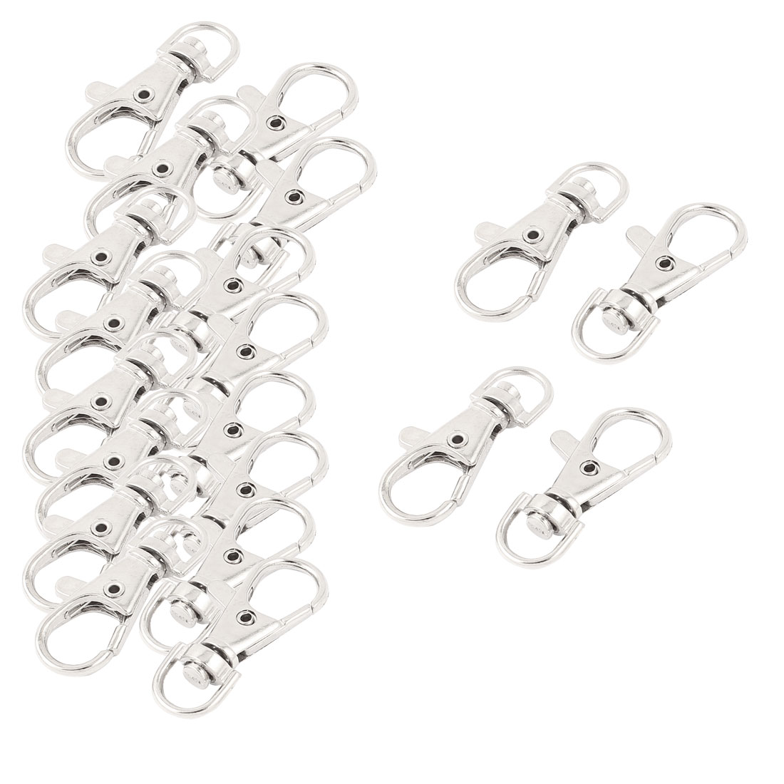 20Pcs Silver Tone Metal Lobster Trigger Swivel Clasp Hooks Clip Buckle Key Ring Chain Keyring Keychain 35mm
