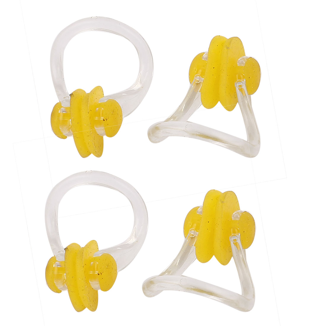 4pcs Clear Plastic Frame Yellow Rubber Pads Swim Training Swimming Noseclip Nose Clip
