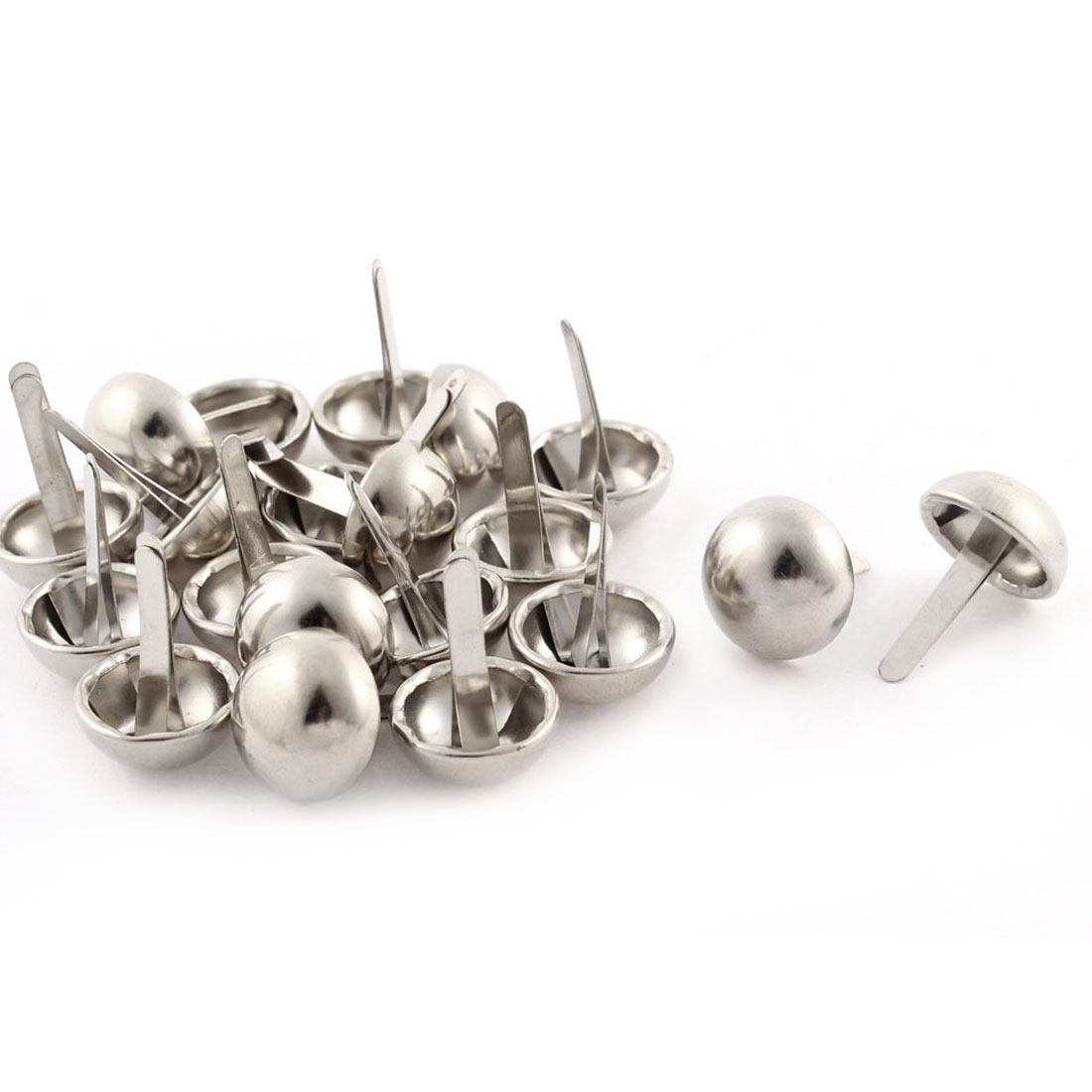 15mm Dia Round Shape Clothes Decorative Metal Split Rivets Silver Tone 20Pcs