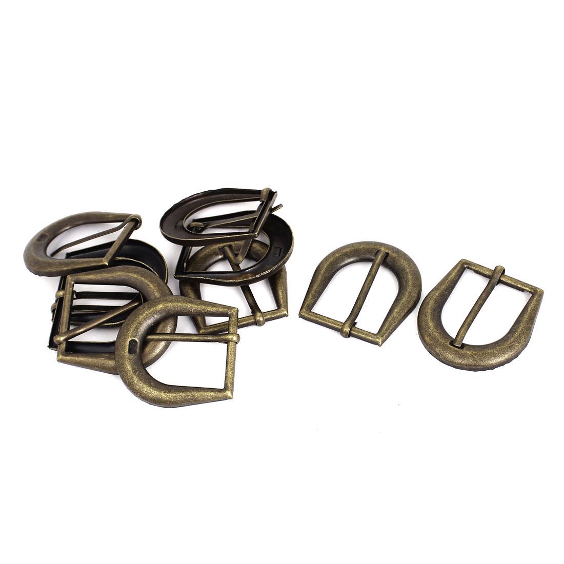 Leather Bag Clothes Vintage Style Metal Single Pin Buckles Bronze Tone 10Pcs