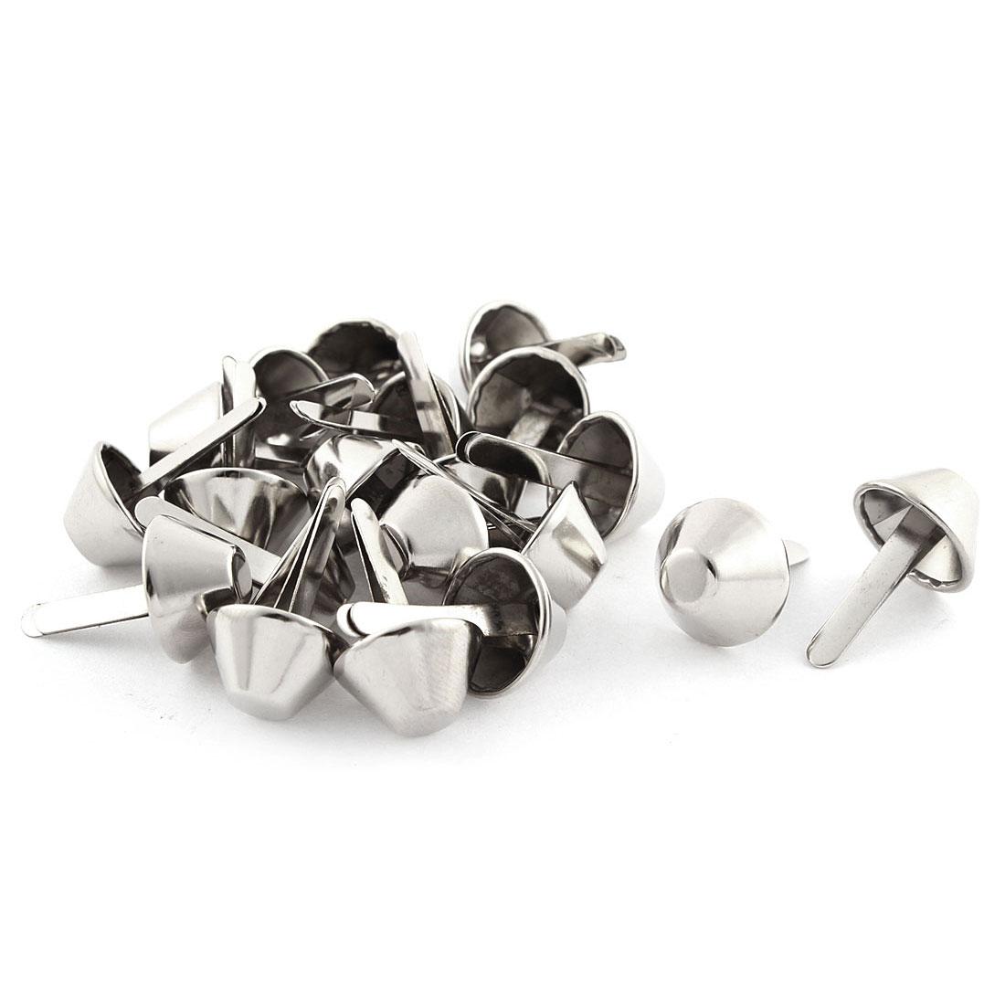 15mm Dia Lamp Shape Clothes Decorative Metal Split Rivets Silver Tone 20Pcs
