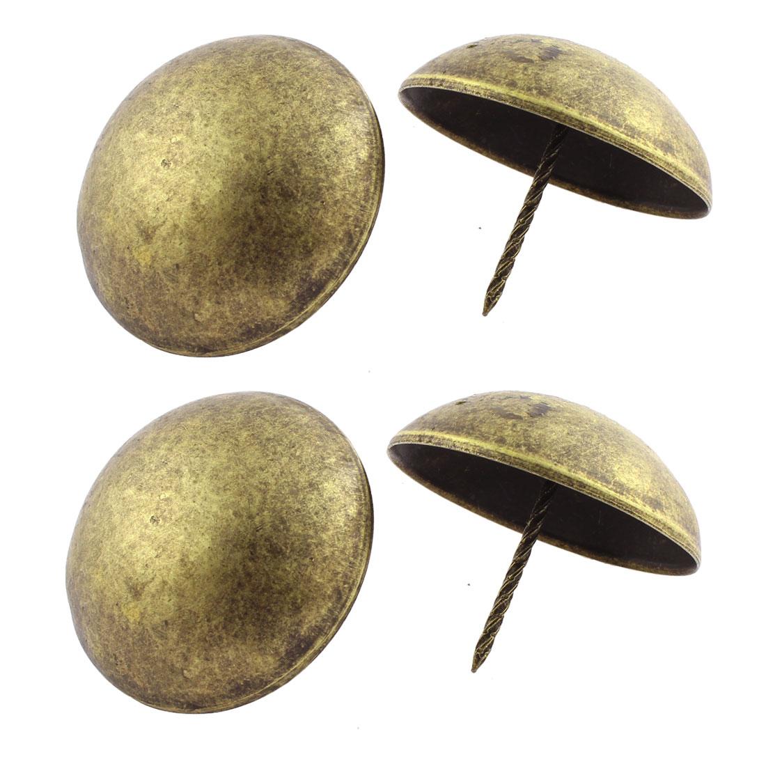 6cm Dia Furniture Decorative Metal Round Pin Domed Nails Bronze Tone 4Pcs