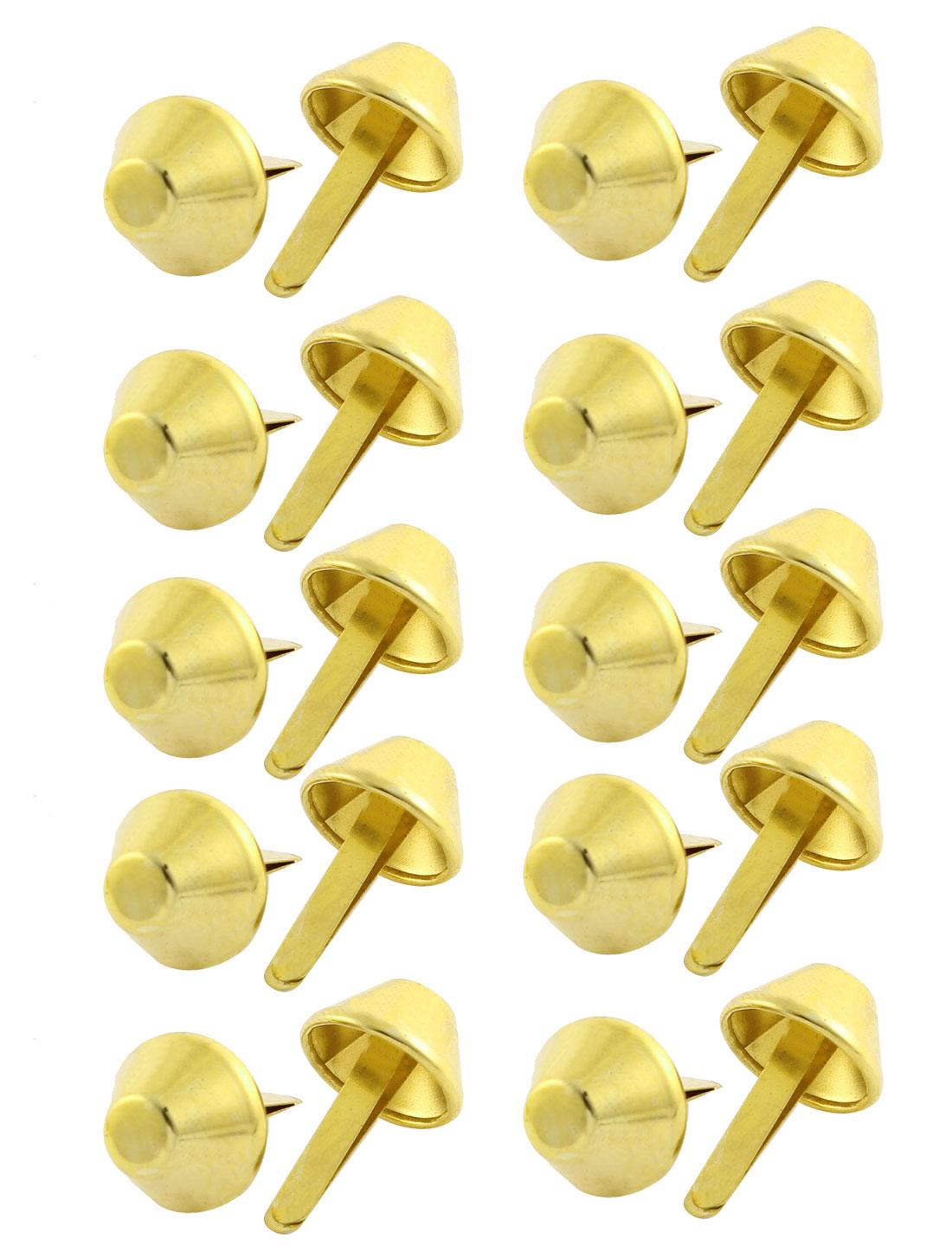 15mm Dia Lamp Shape Clothes Decorative Metal Split Rivets Gold Tone 20Pcs
