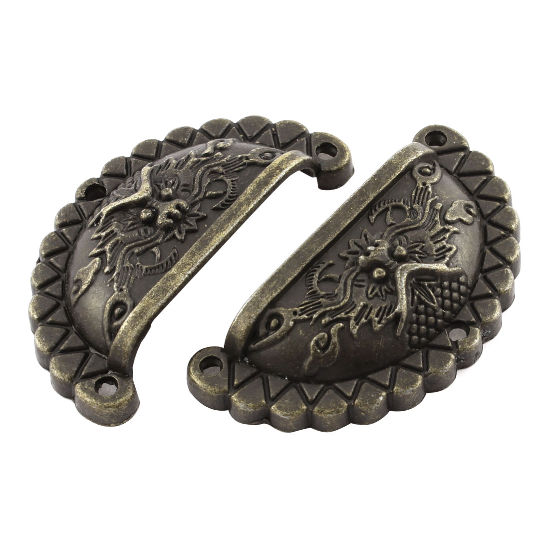 Cupboard Cabinet Door Dragon Metal Pull Handles Bronze Tone 2Pcs