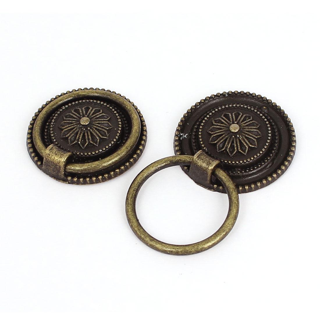 2Pcs Cabinet Drawer Door Metal Round Pull Handles Bronze Tone 3cm Dia