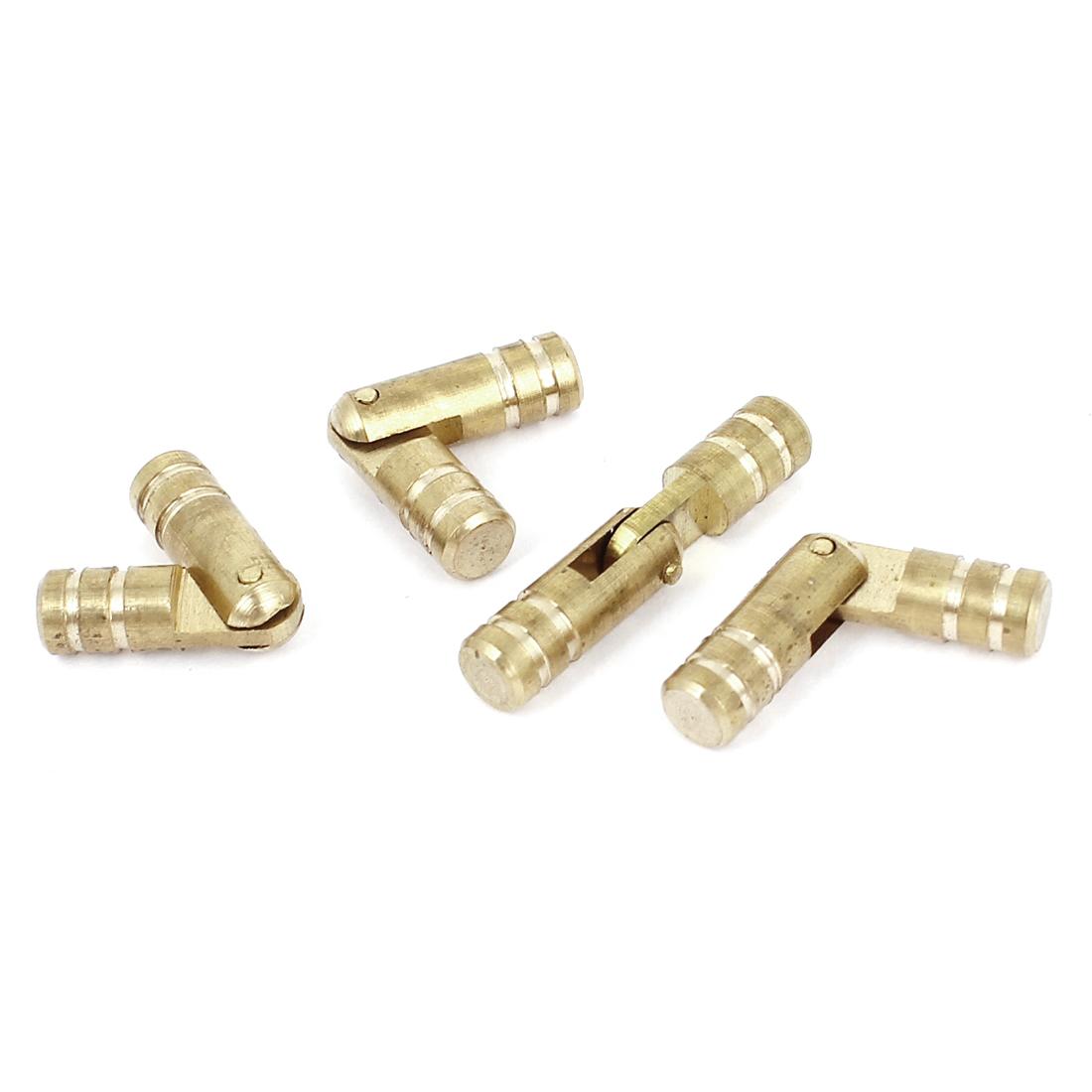 Furniture Box Rotatable Cylinder Shape Folding Support Hinges Gold Tone 4Pcs
